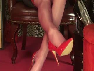 mistress vivian red sheer shiny pantyhose dangling webcam
